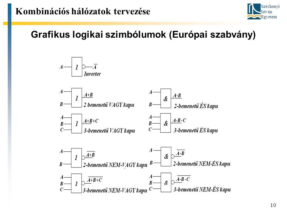 Széchenyi István Egyetem 10 Grafikus logikai szimbólumok (Európai szabvány) Kombinációs hálózatok tervezése