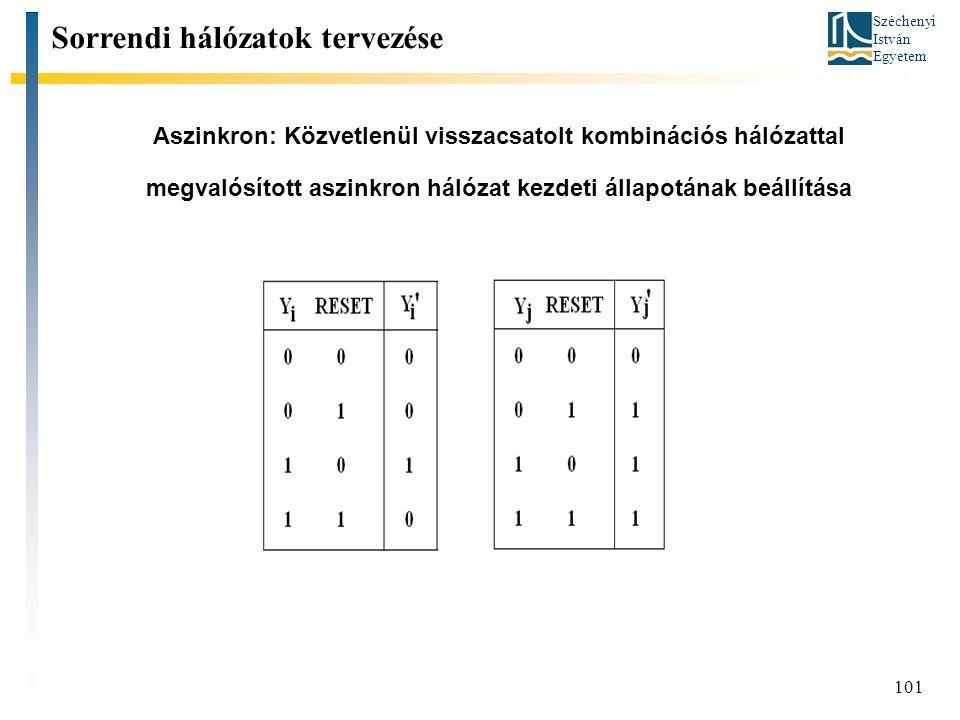 Széchenyi István Egyetem 101 Aszinkron: Közvetlenül visszacsatolt kombinációs hálózattal megvalósított aszinkron hálózat kezdeti állapotának beállítás