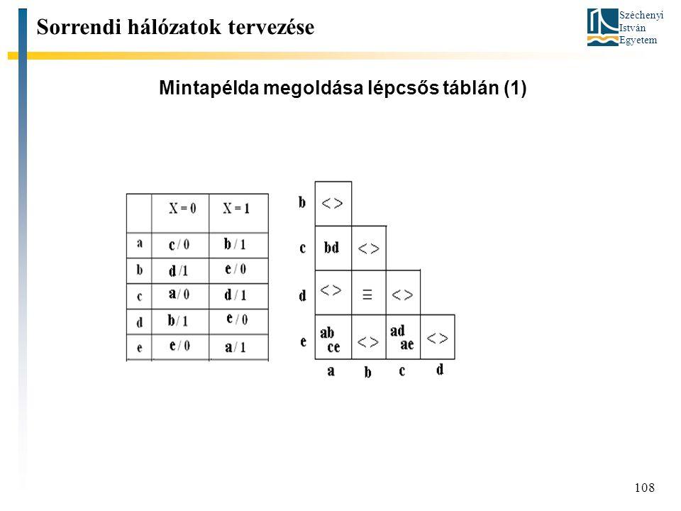 Széchenyi István Egyetem 108 Mintapélda megoldása lépcsős táblán (1) Sorrendi hálózatok tervezése