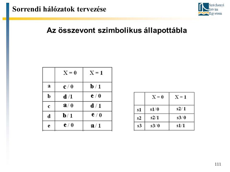 Széchenyi István Egyetem 111 Az összevont szimbolikus állapottábla Sorrendi hálózatok tervezése
