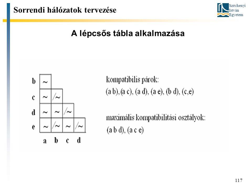 Széchenyi István Egyetem 117 A lépcsős tábla alkalmazása Sorrendi hálózatok tervezése