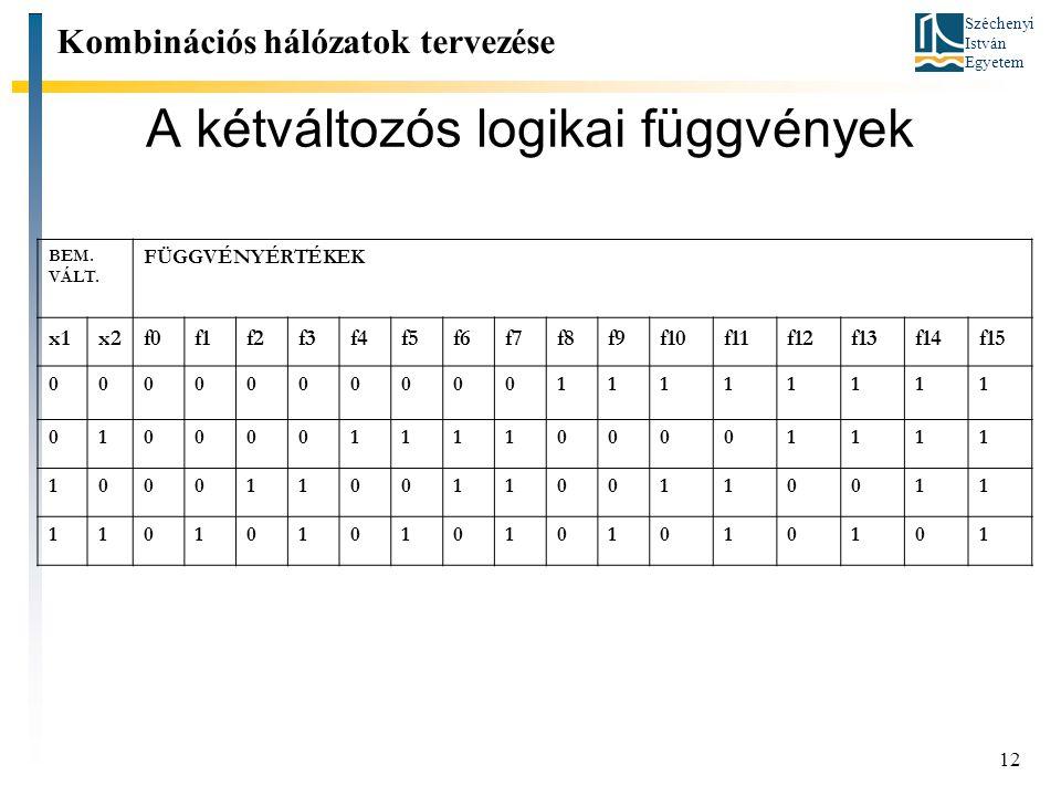 Széchenyi István Egyetem 12 Kombinációs hálózatok tervezése A kétváltozós logikai függvények BEM. VÁLT. FÜGGVÉNYÉRTÉKEK x1x2f0f1f2f3f4f5f6f7f8f9f10f11