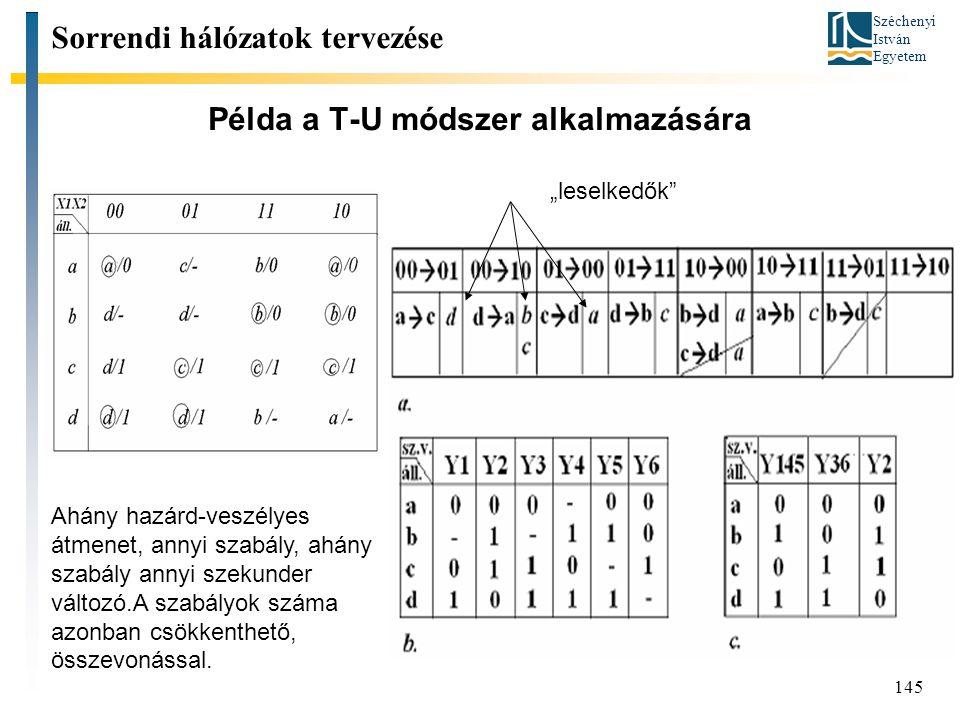 Széchenyi István Egyetem 145 Példa a T-U módszer alkalmazására Sorrendi hálózatok tervezése Ahány hazárd-veszélyes átmenet, annyi szabály, ahány szabá