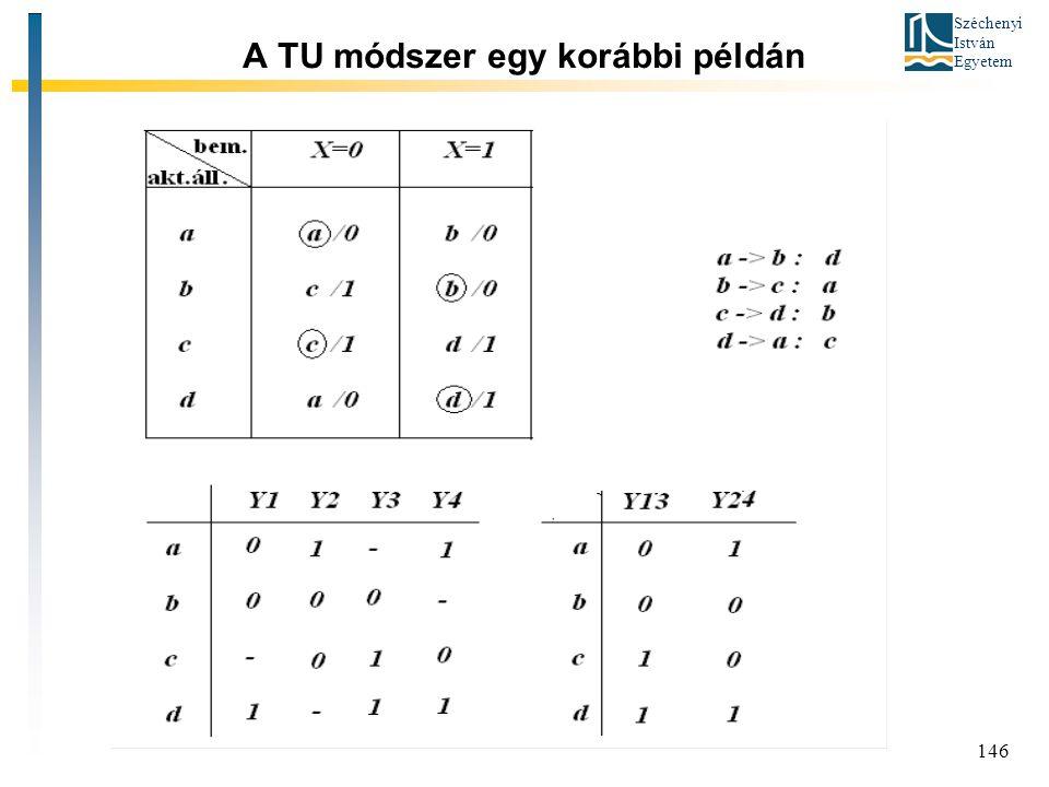 Széchenyi István Egyetem 146 A TU módszer egy korábbi példán
