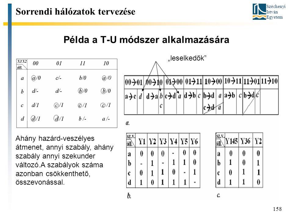 Széchenyi István Egyetem 158 Példa a T-U módszer alkalmazására Sorrendi hálózatok tervezése Ahány hazárd-veszélyes átmenet, annyi szabály, ahány szabá