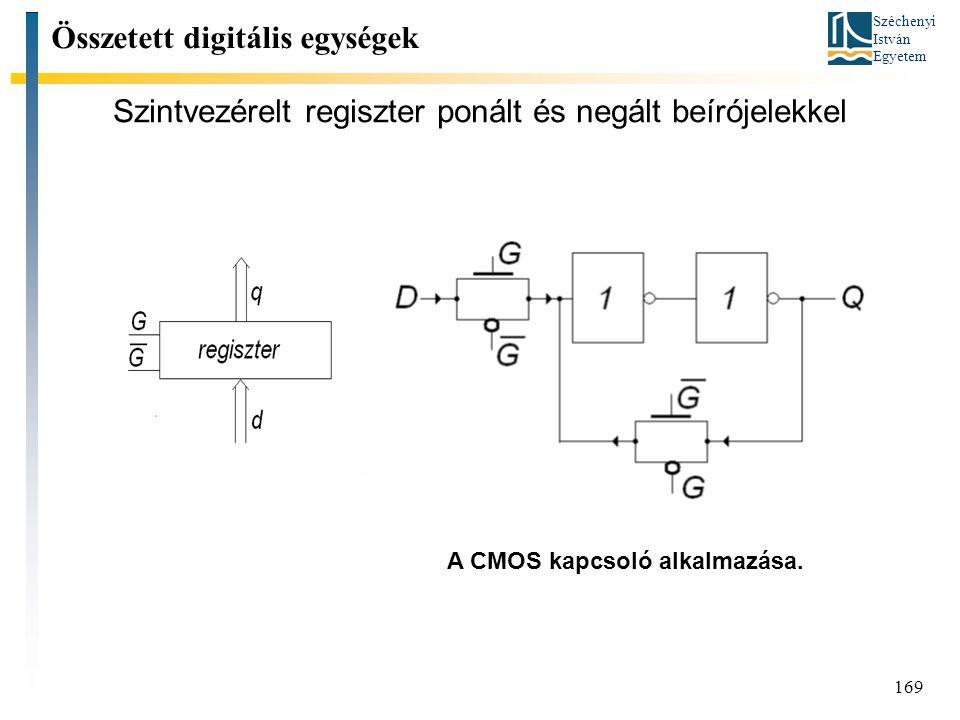 Széchenyi István Egyetem 169 Szintvezérelt regiszter ponált és negált beírójelekkel Összetett digitális egységek A CMOS kapcsoló alkalmazása.