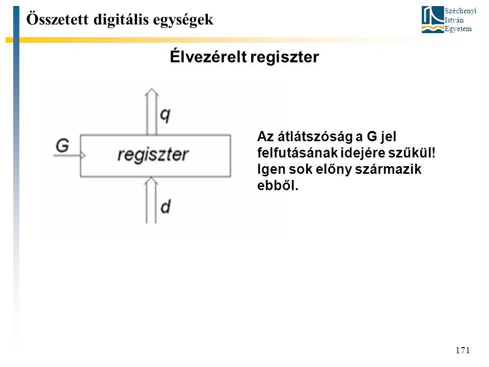 Széchenyi István Egyetem 171 Élvezérelt regiszter Összetett digitális egységek Az átlátszóság a G jel felfutásának idejére szűkül! Igen sok előny szár