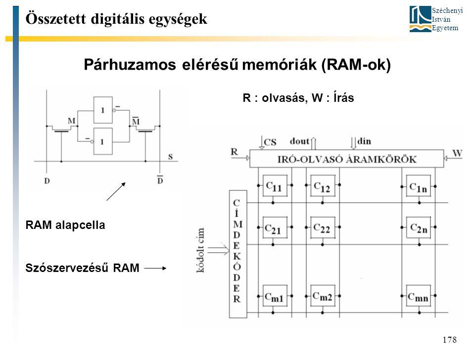 Széchenyi István Egyetem 178 Párhuzamos elérésű memóriák (RAM-ok) Összetett digitális egységek RAM alapcella Szószervezésű RAM R : olvasás, W : Írás