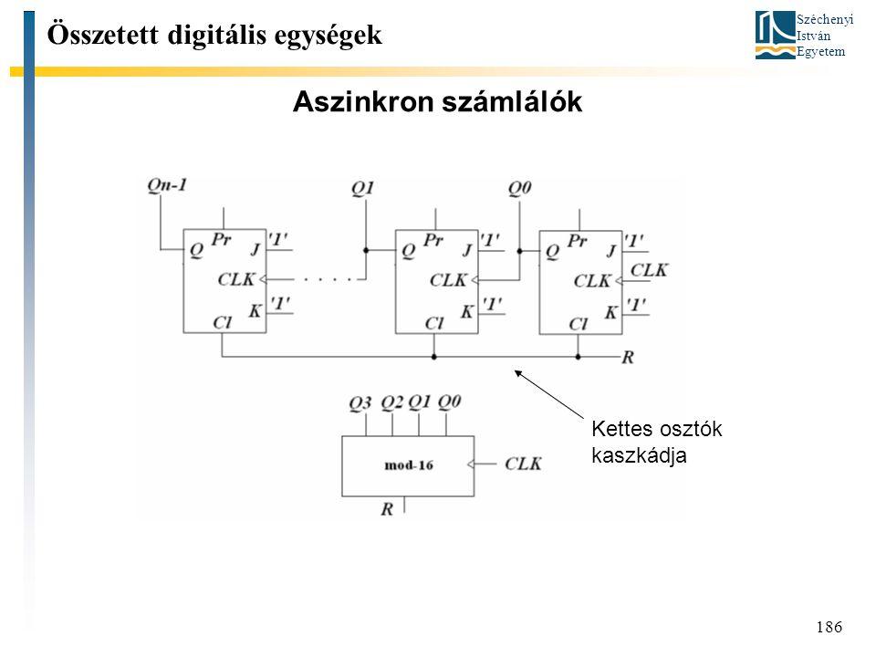 Széchenyi István Egyetem 186 Aszinkron számlálók Összetett digitális egységek Kettes osztók kaszkádja