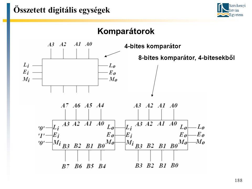 Széchenyi István Egyetem 188 Komparátorok Összetett digitális egységek 4-bites komparátor 8-bites komparátor, 4-bitesekből