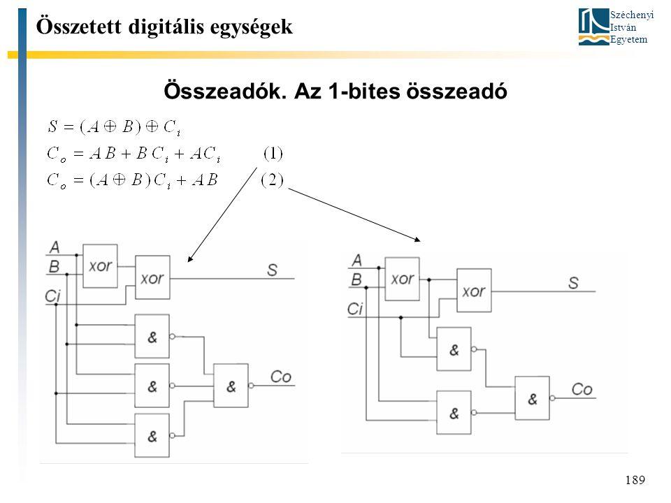 Széchenyi István Egyetem 189 Összeadók. Az 1-bites összeadó Összetett digitális egységek