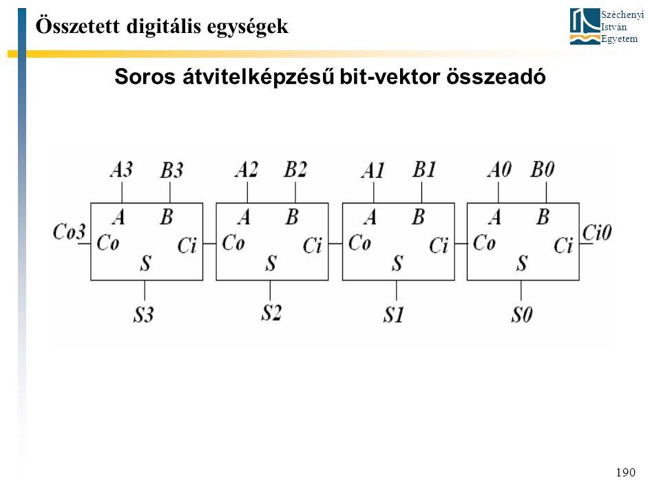 Széchenyi István Egyetem 190 Soros átvitelképzésű bit-vektor összeadó Összetett digitális egységek