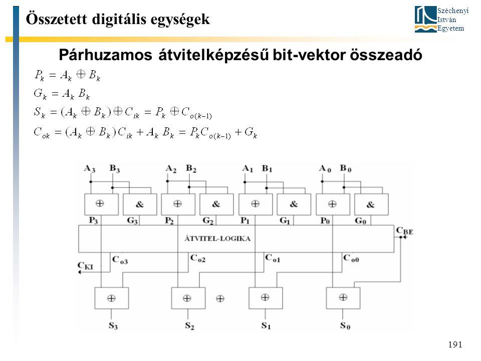 Széchenyi István Egyetem 191 Párhuzamos átvitelképzésű bit-vektor összeadó Összetett digitális egységek
