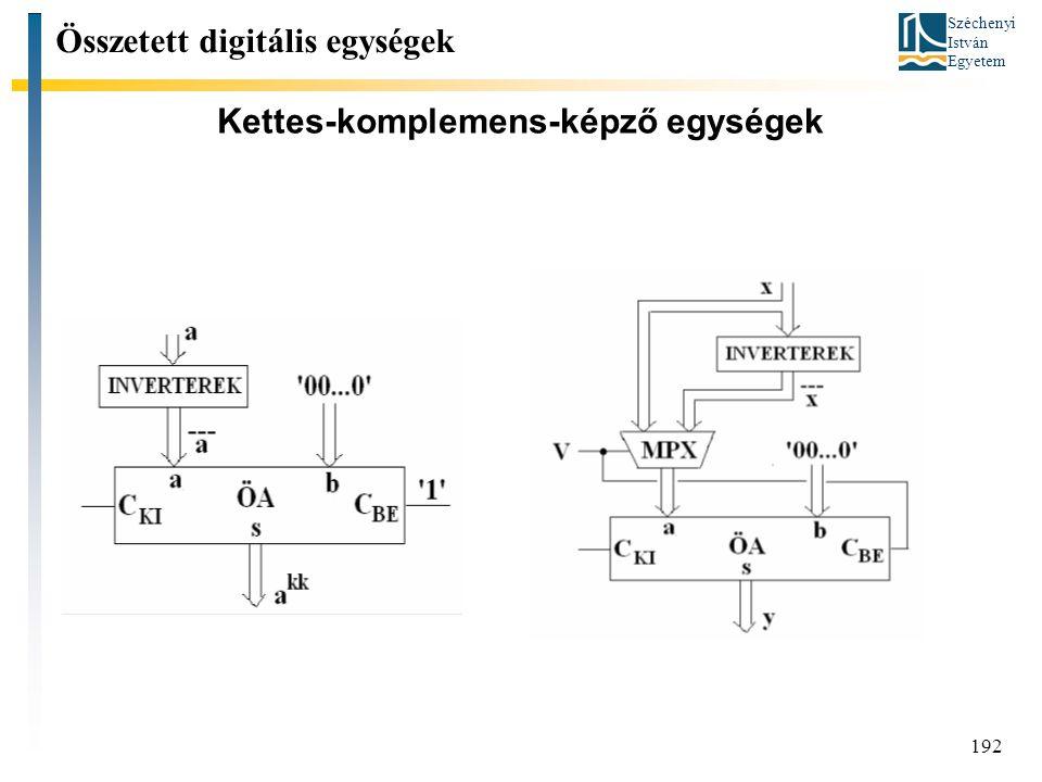 Széchenyi István Egyetem 192 Kettes-komplemens-képző egységek Összetett digitális egységek