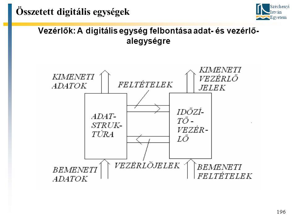Széchenyi István Egyetem 196 Vezérlők: A digitális egység felbontása adat- és vezérlő- alegységre Összetett digitális egységek
