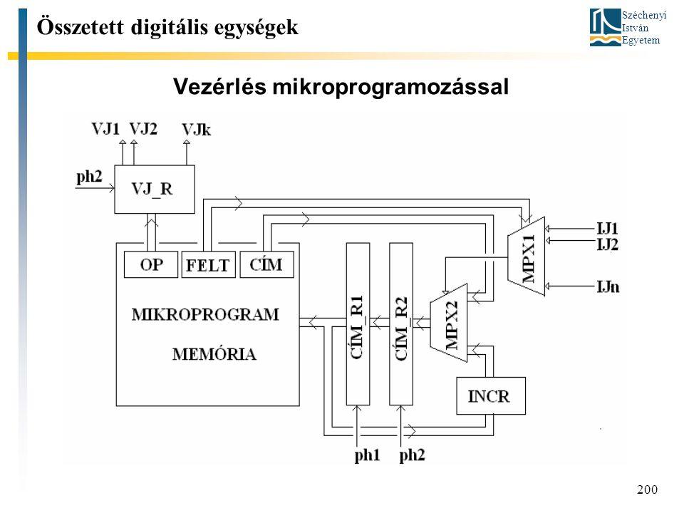 Széchenyi István Egyetem 200 Vezérlés mikroprogramozással Összetett digitális egységek