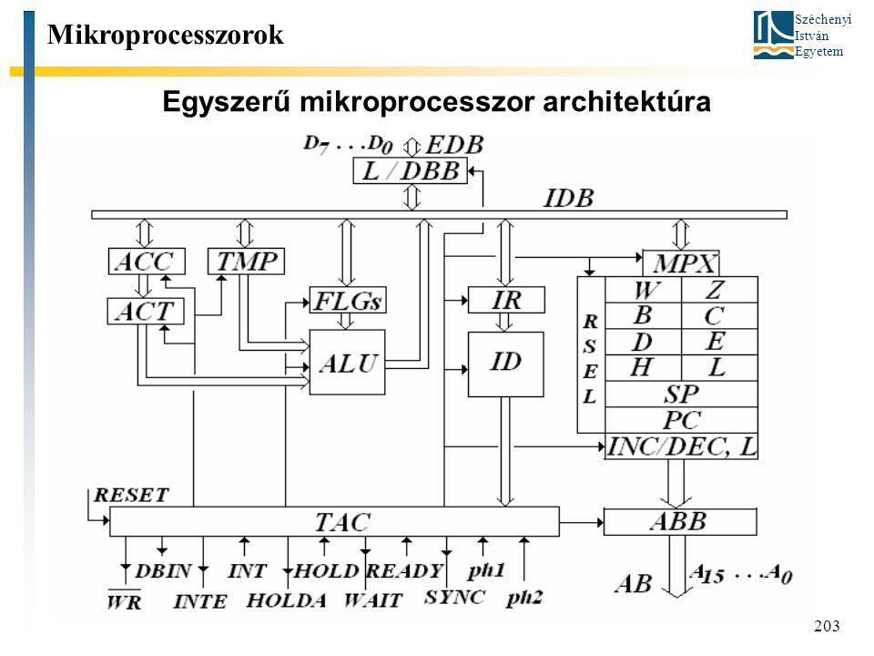Széchenyi István Egyetem 203 Egyszerű mikroprocesszor architektúra Mikroprocesszorok