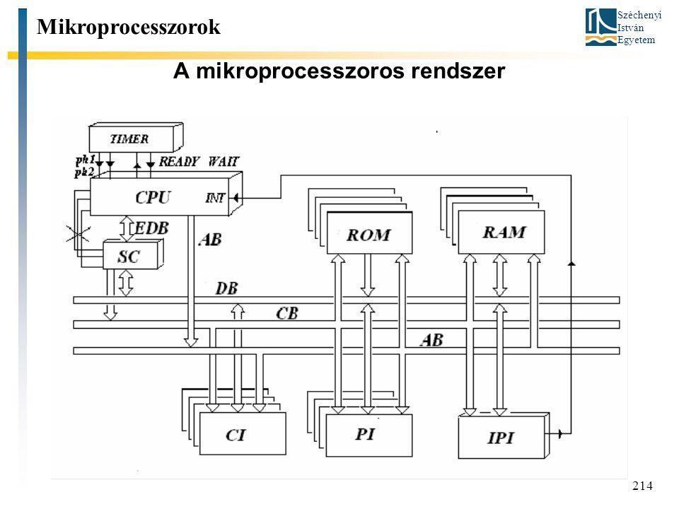Széchenyi István Egyetem 214 A mikroprocesszoros rendszer Mikroprocesszorok