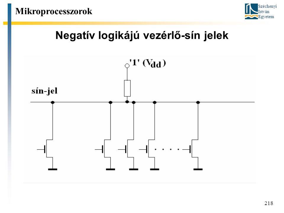 Széchenyi István Egyetem 218 Negatív logikájú vezérlő-sín jelek Mikroprocesszorok