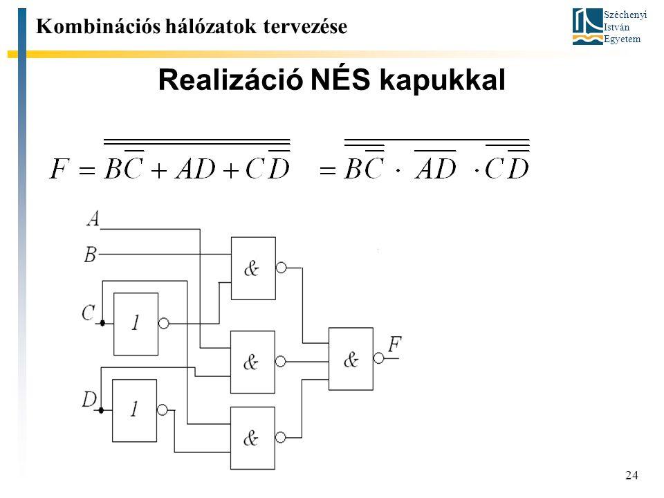Széchenyi István Egyetem 24 Realizáció NÉS kapukkal Kombinációs hálózatok tervezése