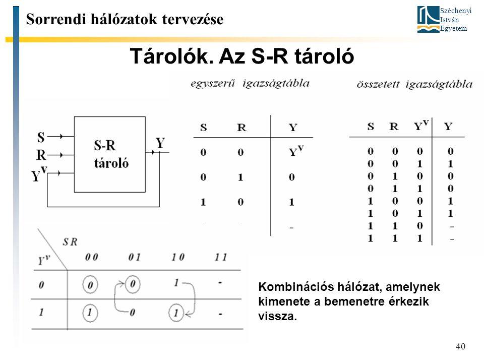 Széchenyi István Egyetem 40 Tárolók. Az S-R tároló Sorrendi hálózatok tervezése Kombinációs hálózat, amelynek kimenete a bemenetre érkezik vissza.