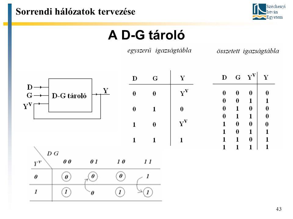 Széchenyi István Egyetem 43 A D-G tároló Sorrendi hálózatok tervezése