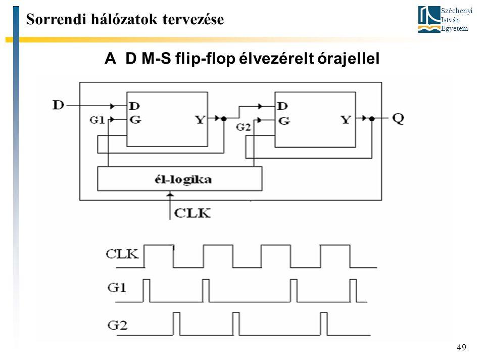 Széchenyi István Egyetem 49 A D M-S flip-flop élvezérelt órajellel Sorrendi hálózatok tervezése