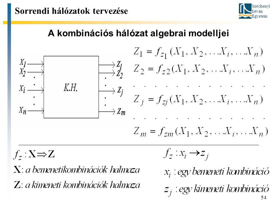 Széchenyi István Egyetem 54 A kombinációs hálózat algebrai modelljei Sorrendi hálózatok tervezése