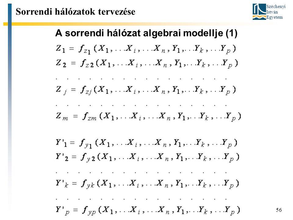 Széchenyi István Egyetem 56 A sorrendi hálózat algebrai modellje (1) Sorrendi hálózatok tervezése