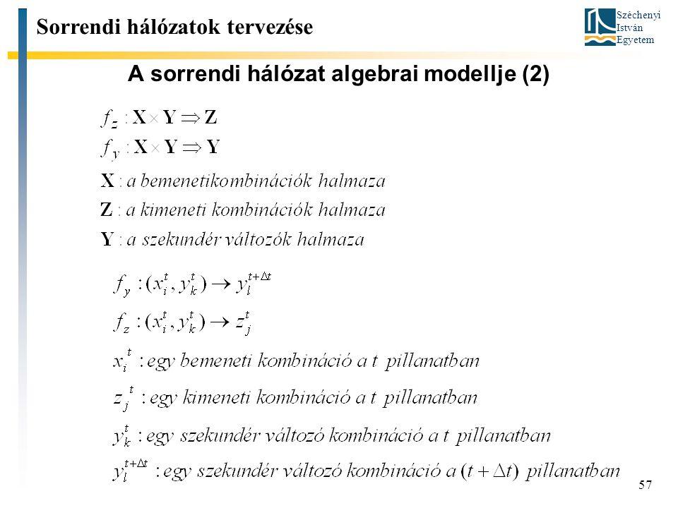 Széchenyi István Egyetem 57 A sorrendi hálózat algebrai modellje (2) Sorrendi hálózatok tervezése
