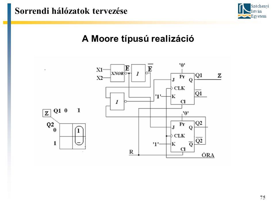 Széchenyi István Egyetem 75 A Moore típusú realizáció Sorrendi hálózatok tervezése
