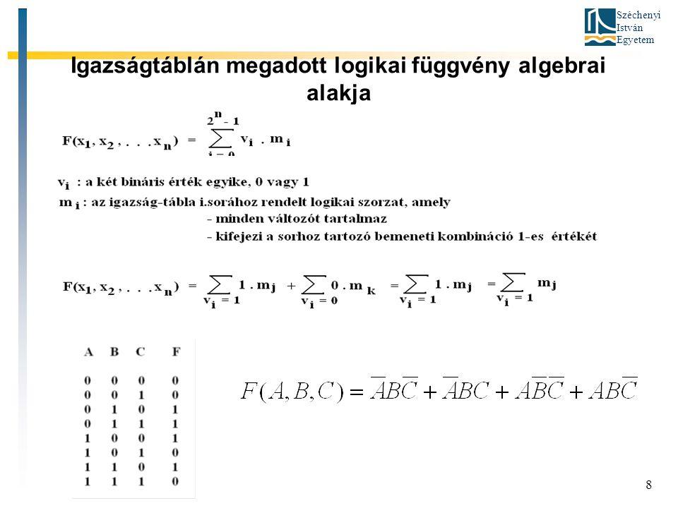 Széchenyi István Egyetem 8 Igazságtáblán megadott logikai függvény algebrai alakja