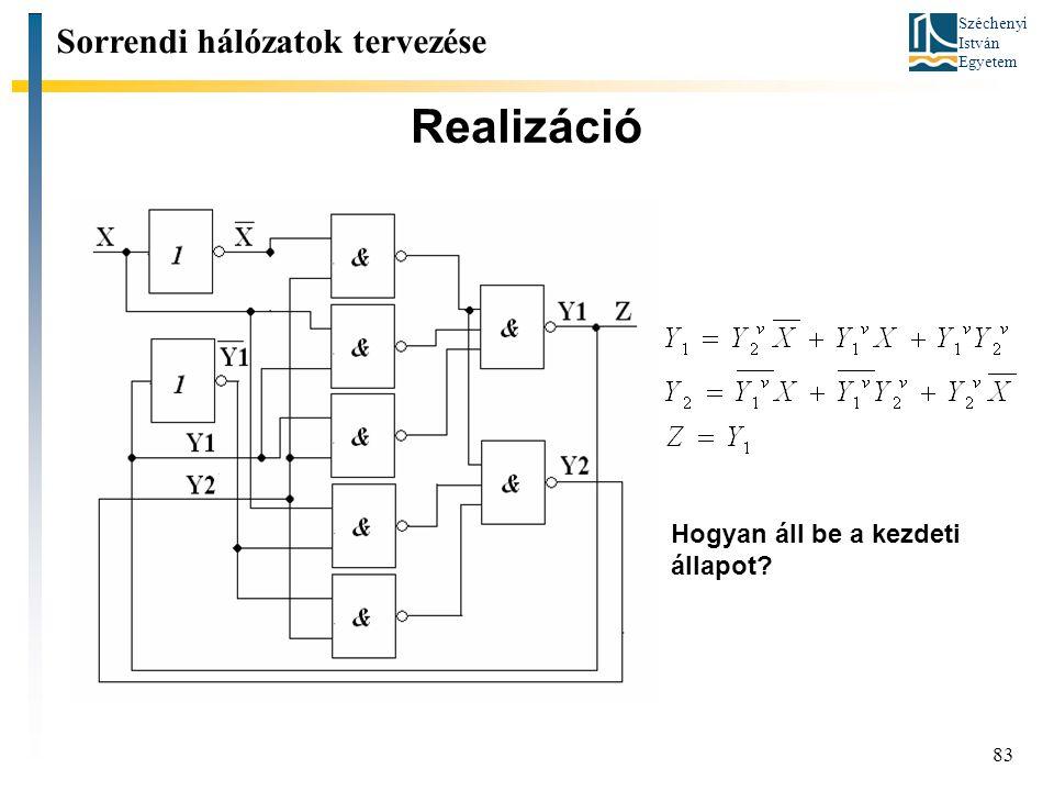 Széchenyi István Egyetem 83 Realizáció Sorrendi hálózatok tervezése Hogyan áll be a kezdeti állapot?