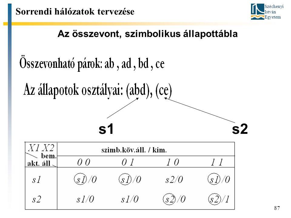 Széchenyi István Egyetem 87 Az összevont, szimbolikus állapottábla Sorrendi hálózatok tervezése s1 s2