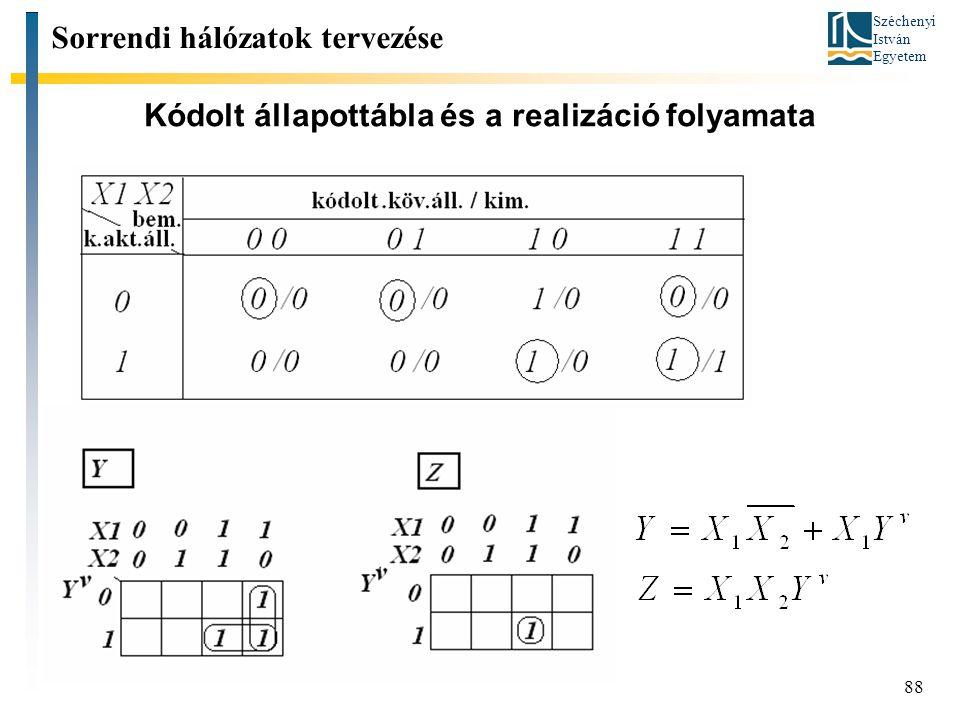 Széchenyi István Egyetem 88 Kódolt állapottábla és a realizáció folyamata Sorrendi hálózatok tervezése