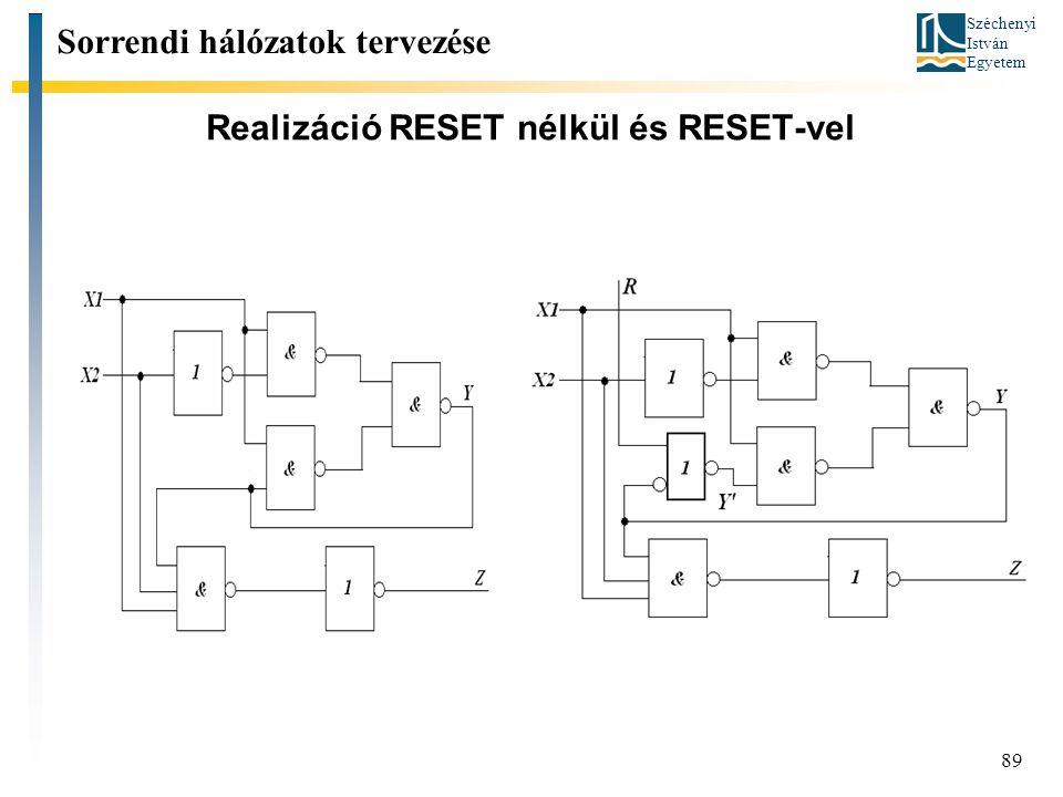 Széchenyi István Egyetem 89 Realizáció RESET nélkül és RESET-vel Sorrendi hálózatok tervezése