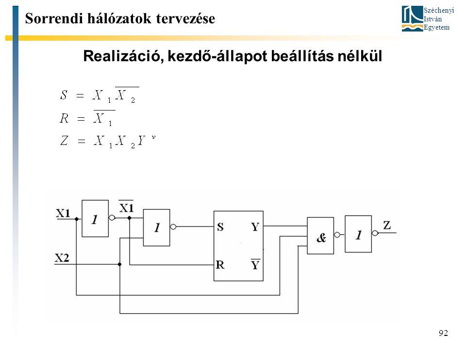 Széchenyi István Egyetem 92 Realizáció, kezdő-állapot beállítás nélkül Sorrendi hálózatok tervezése