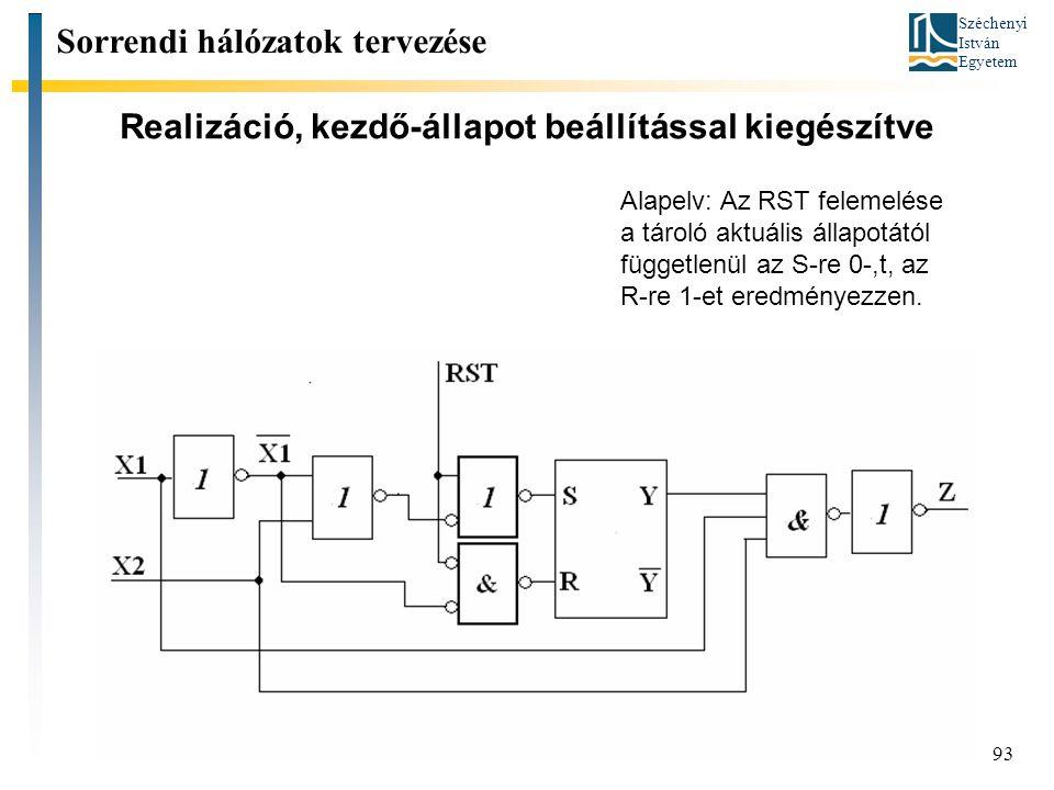 Széchenyi István Egyetem 93 Realizáció, kezdő-állapot beállítással kiegészítve Sorrendi hálózatok tervezése Alapelv: Az RST felemelése a tároló aktuál