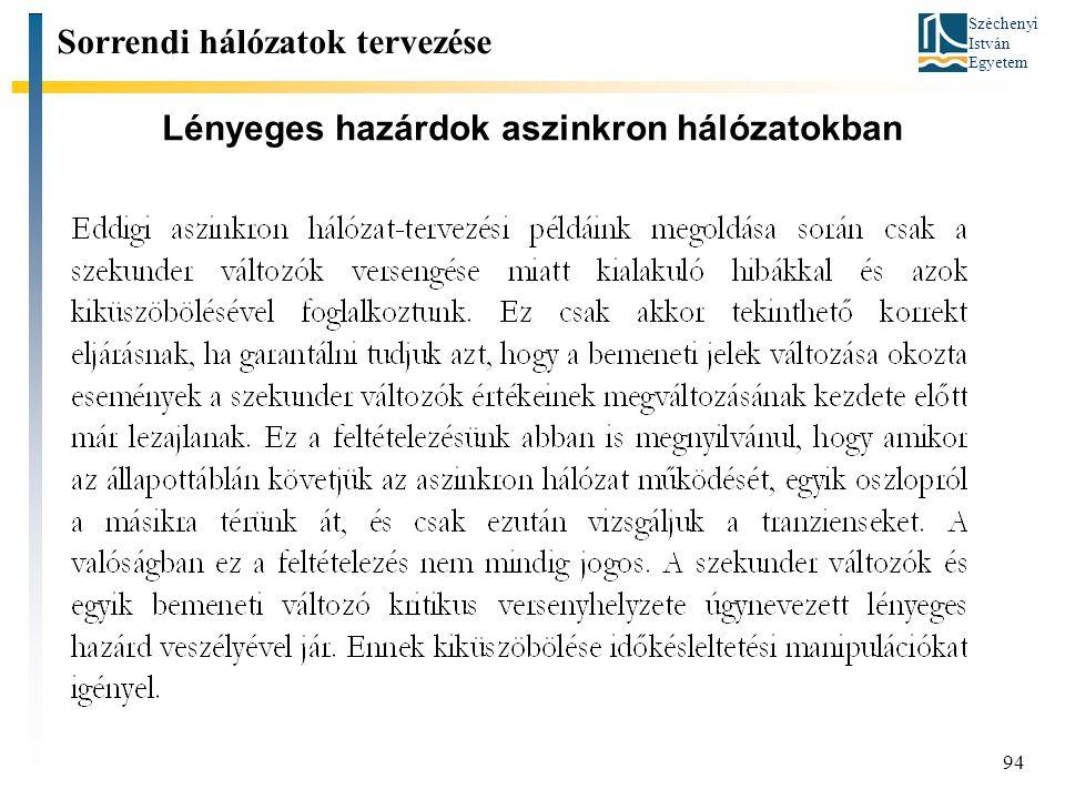Széchenyi István Egyetem 94 Lényeges hazárdok aszinkron hálózatokban Sorrendi hálózatok tervezése