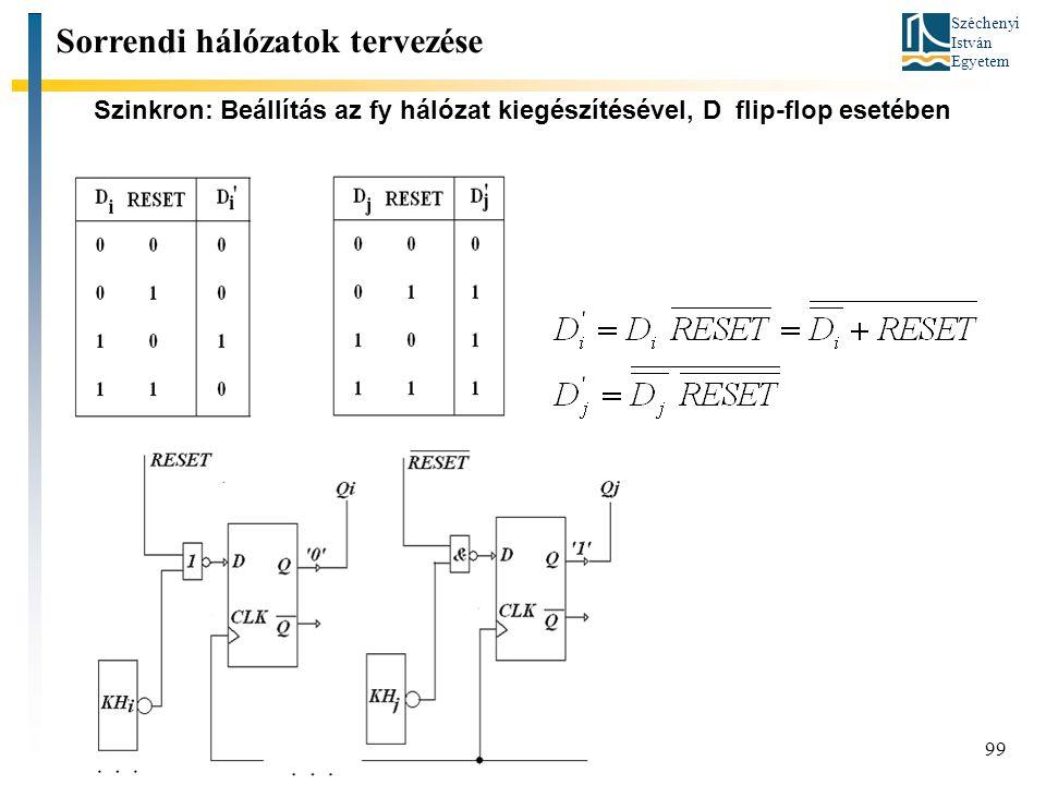 Széchenyi István Egyetem 99 Szinkron: Beállítás az fy hálózat kiegészítésével, D flip-flop esetében Sorrendi hálózatok tervezése
