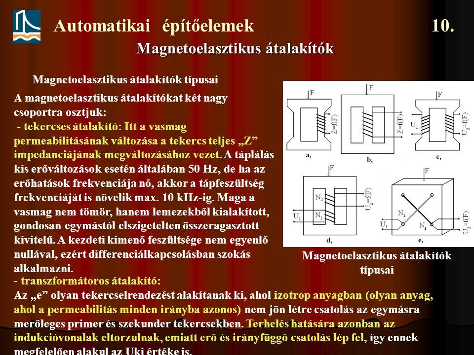Automatikai építőelemek 10. Magnetoelasztikus átalakítók Néhány erőmérő cella összefoglalása