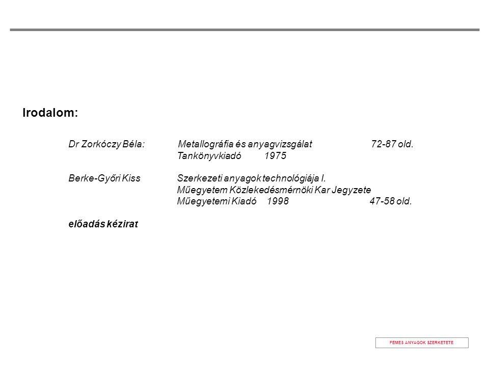 FÉMES ANYAGOK SZERKETETE Irodalom: Dr Zorkóczy Béla: Metallográfia és anyagvizsgálat 72-87 old. Tankönyvkiadó 1975 Berke-Győri Kiss Szerkezeti anyagok