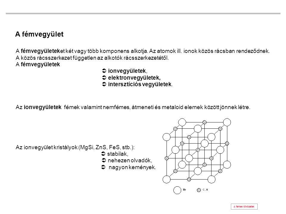 A fémvegyület A fémvegyületeket két vagy több komponens alkotja. Az atomok ill. ionok közös rácsban rendeződnek. A közös rácsszerkezet független az al