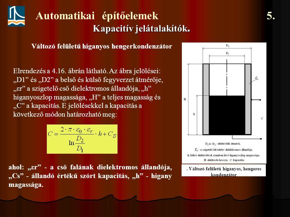 Automatikai építőelemek 5.Kapacitív jelátalakítók.