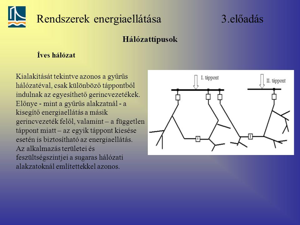 Rendszerek energiaellátása 3.előadás Hálózattípusok Íves hálózat Kialakítását tekintve azonos a gyűrűs hálózatéval, csak különböző táppontból indulnak