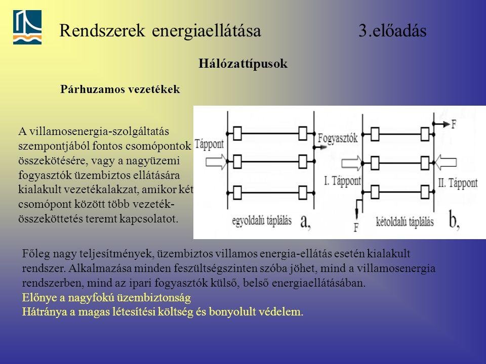 Rendszerek energiaellátása 3.előadás Hálózattípusok Párhuzamos vezetékek A villamosenergia-szolgáltatás szempontjából fontos csomópontok összekötésére, vagy a nagyüzemi fogyasztók üzembiztos ellátására kialakult vezetékalakzat, amikor két csomópont között több vezeték- összeköttetés teremt kapcsolatot.