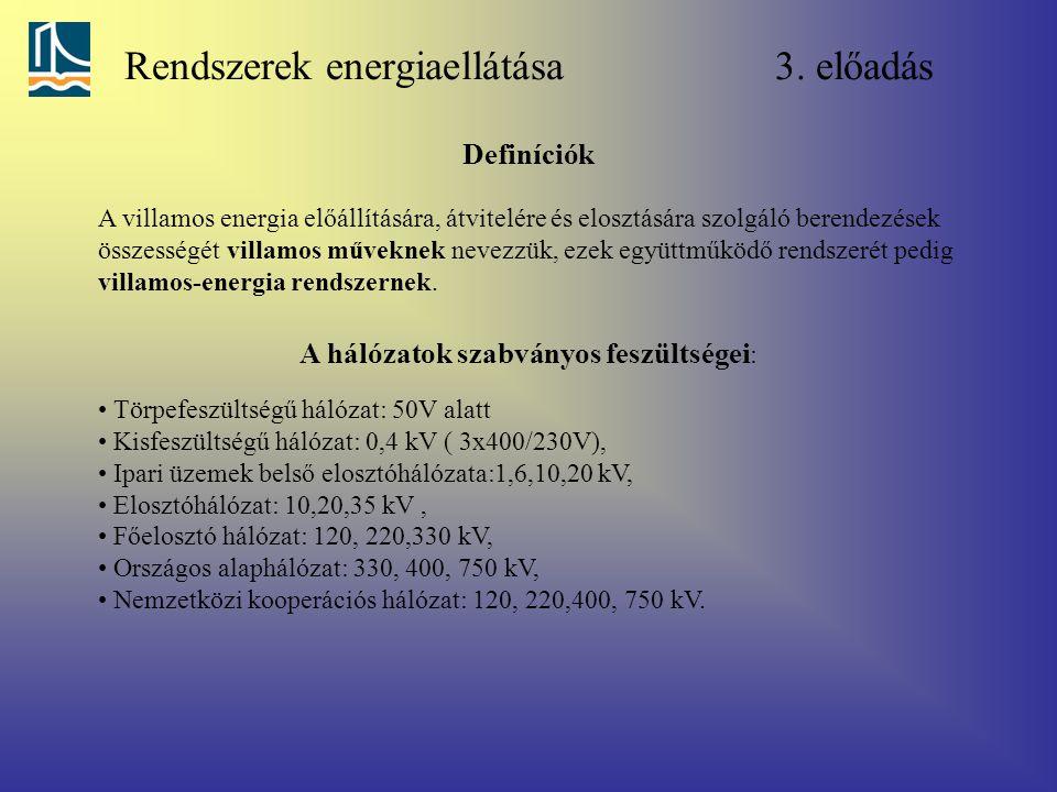 Rendszerek energiaellátása 3. előadás A villamos energia előállítására, átvitelére és elosztására szolgáló berendezések összességét villamos műveknek