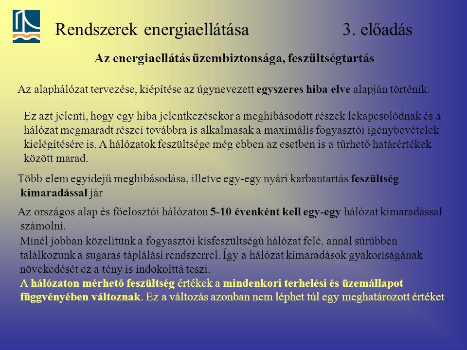 Rendszerek energiaellátása 3. előadás Az energiaellátás üzembiztonsága, feszültségtartás Az alaphálózat tervezése, kiépítése az úgynevezett egyszeres