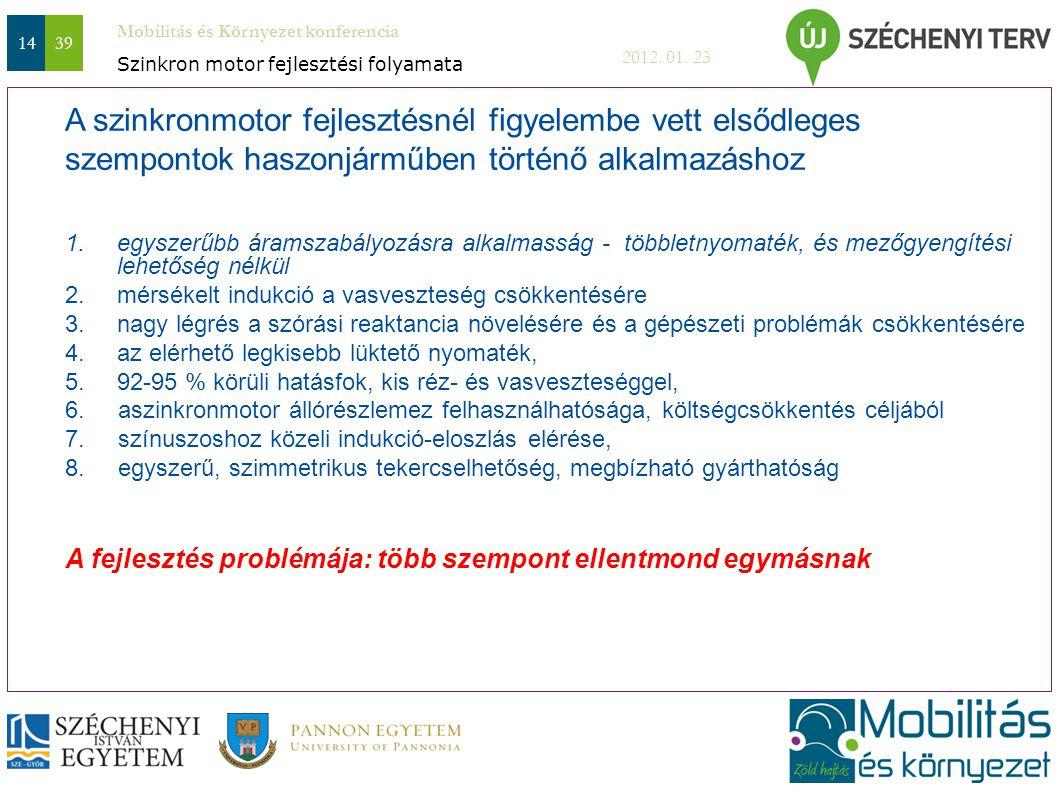 Mobilitás és Környezet konferencia 2012. 01. 23 1439 A szinkronmotor fejlesztésnél figyelembe vett elsődleges szempontok haszonjárműben történő alkalm