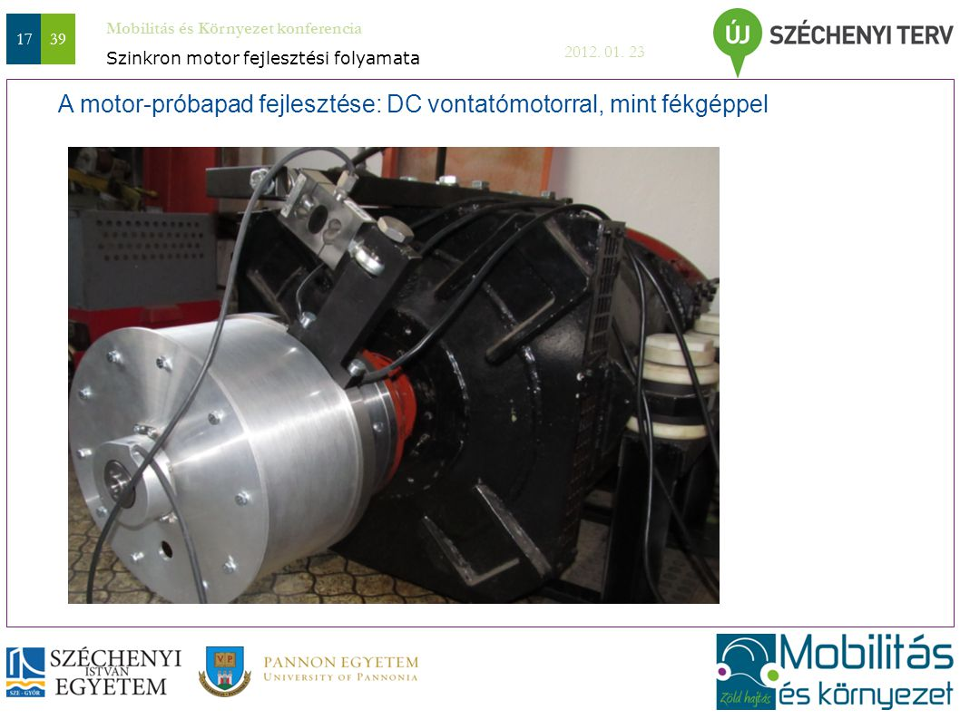 Mobilitás és Környezet konferencia 2012. 01. 23 1739 A motor-próbapad fejlesztése: DC vontatómotorral, mint fékgéppel Szinkron motor fejlesztési folya
